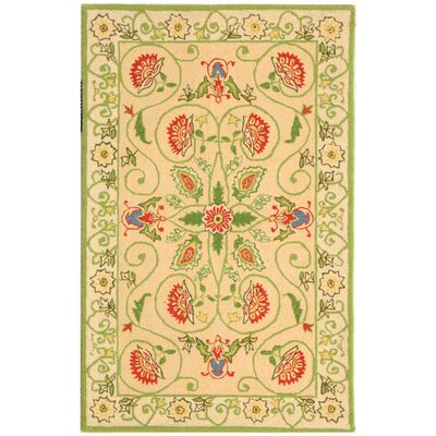 Kinchen Beige/Green Rug Rug Size: Rectangle 26 x 4