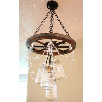 Ailse Crystal Wagon Wheel Mason Jar 5-Light Cluster Pendant
