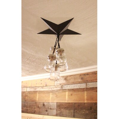 Aida Barn Star Mason Jar 5-Light Cluster Pendant Base Finish: Black