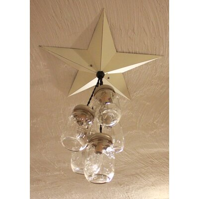 Aida Barn Star Mason Jar 5-Light Cluster Pendant Base Finish: White