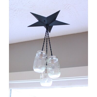 Aida Barn Star Mason Jar 3-Light Cluster Pendant Base Finish: Black