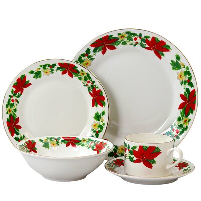 Ryder Poinsettia Holiday 20 Piece Dinnerware Set, Service for 4 AGTG4388 43228356