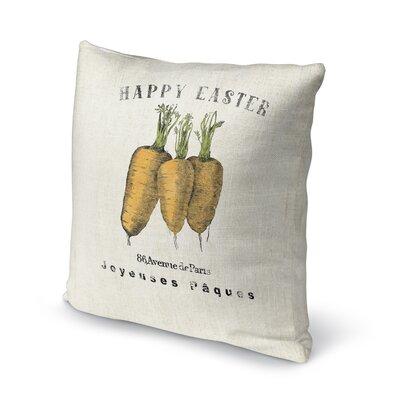 Alvarie Carrots Throw Pillow Size: 16 H x 16 W x 4 D, Color: Orange/ Green/ Ivory/ Black