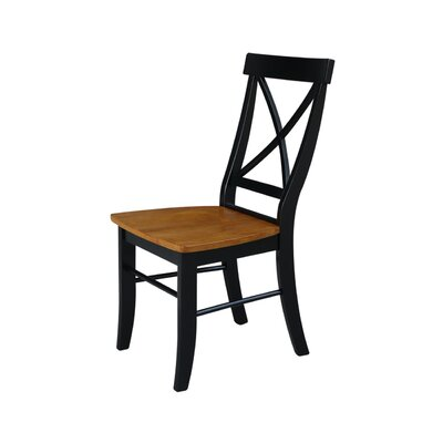 Sawyer Cross Back Solid Wood Dining Chair Color: Black/Cherry