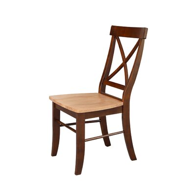 Sawyer Cross Back Solid Wood Dining Chair Color: Cinnamon/Espresso
