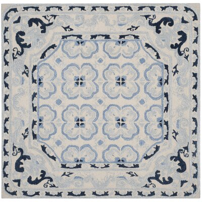 Perine Hand-Tufted Ivory/Blue Area Rug Rug Size: Square 5