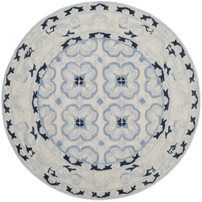 Perine Hand-Tufted Ivory/Blue Area Rug Rug Size: Round 5