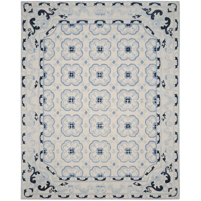 Perine Hand-Tufted Ivory/Blue Area Rug Rug Size: Rectangle 8 x 10