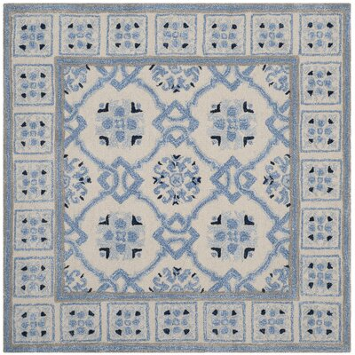 Perine Hand-Tufted Ivory Blue Area Rug Rug Size: Square 5