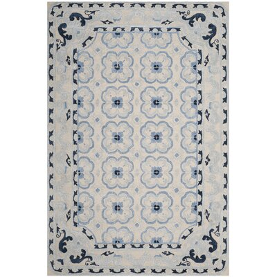 Perine Hand-Tufted Ivory/Blue Area Rug Rug Size: Rectangle 6 x 9
