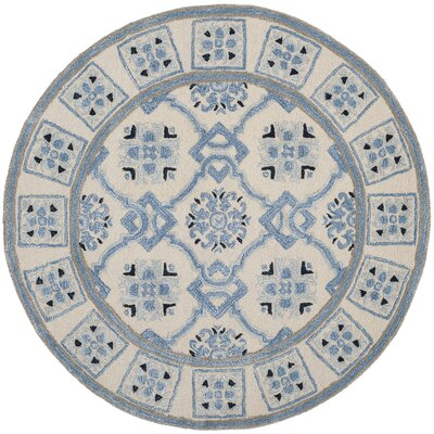 Perine Hand-Tufted Ivory Blue Area Rug Rug Size: Round 5