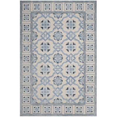 Perine Hand-Tufted Ivory Blue Area Rug Rug Size: Rectangle 6 x 9