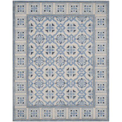 Perine Hand-Tufted Ivory Blue Area Rug Rug Size: Rectangle 8 x 10