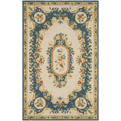 Glenwood Hand Tufted Wool Cream/Blue Area Rug Rug Size: Rectangle 5 x 8