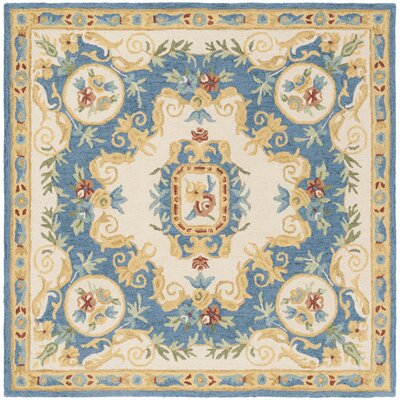 Glenwood Hand Tufted Wool Cream/Blue Area Rug Rug Size: Square 5