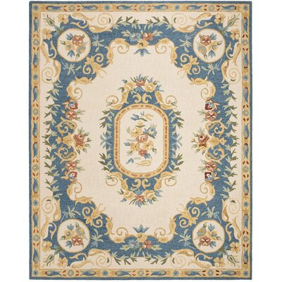 Glenwood Hand Tufted Wool Cream/Blue Area Rug Rug Size: Rectangle 26 x 4
