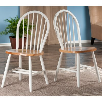 Windsor Solid Wood Dining Chair Color: White