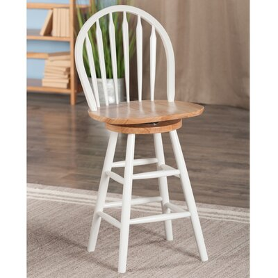 30 Swivel Bar Stool Color: White, Seat Height: 24 H x 18 W
