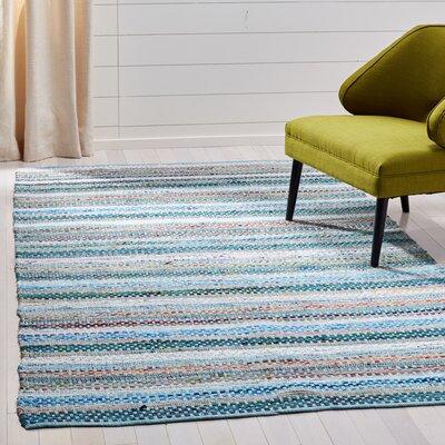 Vesey Hand-Woven Aqua/Gray Area Rug Rug Size: Rectangle 5 x 8