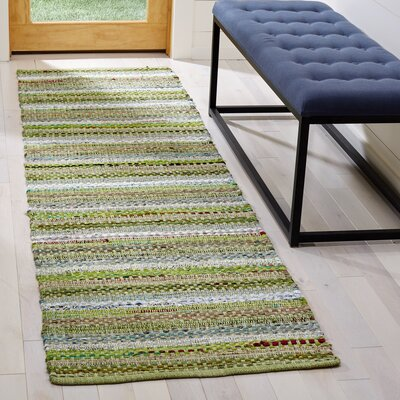 Vesey Hand-Woven Green/Gray Area Rug Rug Size: Runner 23 x 8