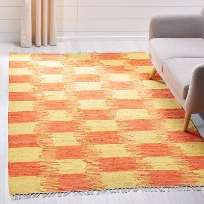 Opie Hand-Woven Orange/Beige Area Rug Rug Size: Rectangle 5 x 8