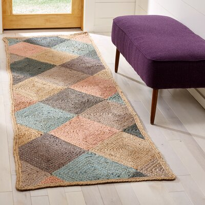Gigi Hand-Woven Natural/Green/Gray Area Rug Rug Size: Rectangle 26 x 8