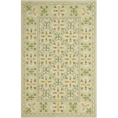 Kendall Hand-Hooked Green Area Rug Rug Size: Rectangle 36 x 56