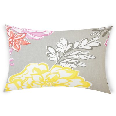 Goodrich Floral Down Filled 100% Cotton Lumbar Pillow Color: Mineral