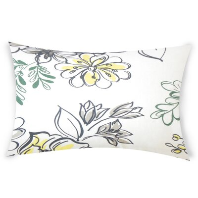 Goodrich Floral Down Filled 100% Cotton Lumbar Pillow Color: Metal