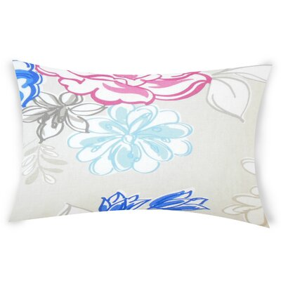 Goodrich Floral Down Filled 100% Cotton Lumbar Pillow Color: Blueberry