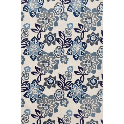 Dazey Blue/White Outdoor Area Rug Rug Size: Rectangle 76 x 96