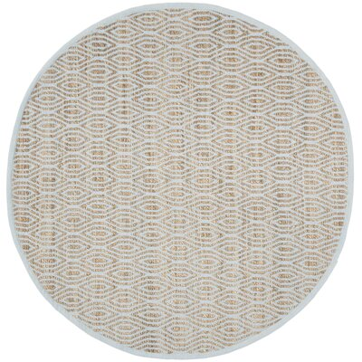 Zap Hand-Woven Silver/Natural Area Rug Rug Size: Round 6