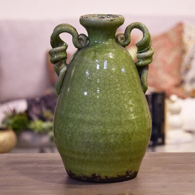 August Grove Amphora Ceramic Tuscan Vase Color: Yellow Green