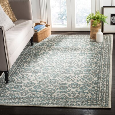 Ruthie Ivory/Gray Area Rug Rug Size: Rectangle 51 x 76