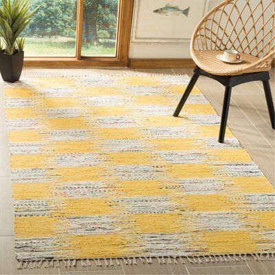 Opie Hand-Woven Yellow/Gray Area Rug Rug Size: Rectangle 5 x 8