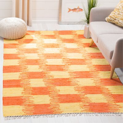 Opie Hand-Woven Orange/Beige Area Rug Rug Size: Rectangle 5 x 8