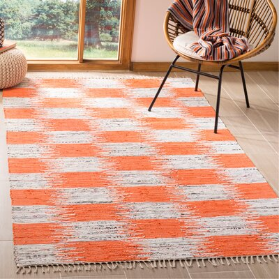 Opie Hand-Woven Orange/Gray Area Rug Rug Size: Rectangle 5 x 8