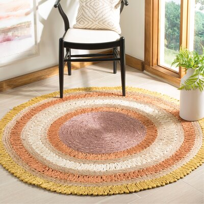 Jeanbaptiste Natural Fiber Hand Tufted Yellow/White Area Rug� Rug Size: Round 5