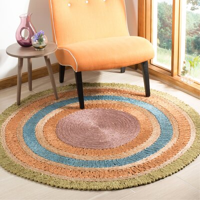 Castelnaud Natural Fiber Hand Tufted Green/Blue/Orange Area Rug� Rug Size: Round 7