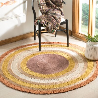 Hailee Natural Fiber Hand Tufted Orange/White Area Rug� Rug Size: Round 5