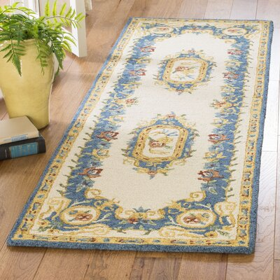 Glenwood Hand Tufted Wool Cream/Blue Area Rug Rug Size: Runner 23 x 7