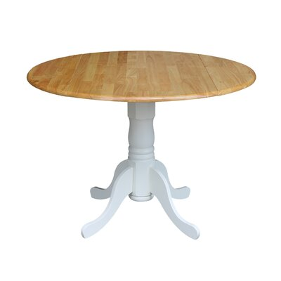 Boothby Round 42 Dual Drop Leaf Dining Table Color: White/Natural