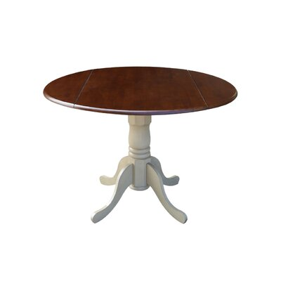 Boothby Round 42 Dual Drop Leaf Dining Table Color: Antiqued Almond/Espresso