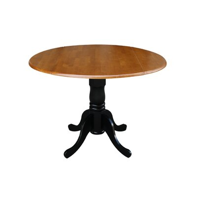 Boothby Round 42 Dual Drop Leaf Dining Table Color: Black/Cherry