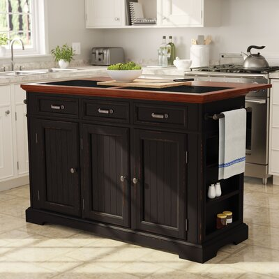 Cintron Large Kitchen Island with Granite Top Base Finish: Distressed Black/Vintage Oak