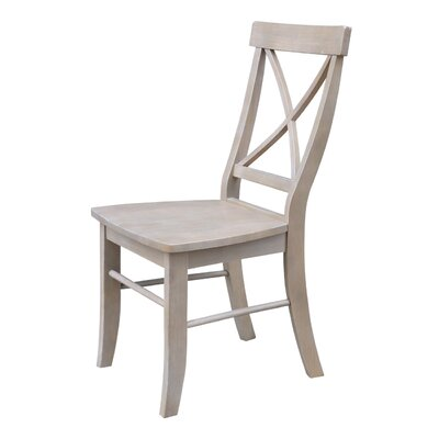 Sawyer Cross Back Solid Wood Dining Chair Color: Weathered Gray