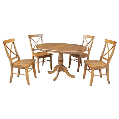 Petra 5 Piece Extendable Dining Set Finish: Pecan