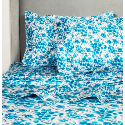 Avonmore Poppy 400 Thread Count 100% Cotton Sheet Set Size: California King, Color: Blue