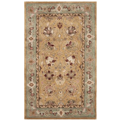 Lupien Hand-Hooked Copper/Moss Area Rug Rug Size: Rectangle 3 x 5