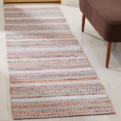 Vesey Hand-Woven Pink/Blue Area Rug Rug Size: Runner 23 x 8